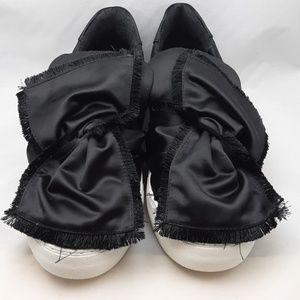 JSlides Onyx Black Satin Bow Platform Sneaker NWOT